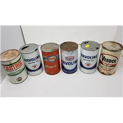 6 oil tins, 3 are full