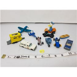 lot of older small toy vehicles