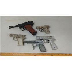 METAL CAP GUNS - LUGER 9 MM AUTOMATIC, SPUD GUN, HUBLEY HAWK, DICK & 1 UNKNOWN
