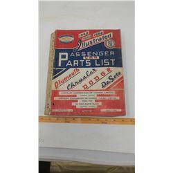1940-1948 ILLUSTRATED PASSENGER CAR PARTS LIST - PLYMOUTH, CHRYSLER, DODGE, DESOTO
