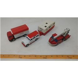 SOLIDO AMAR CIRCUS METAL TOYS - LAND ROVER WITH TRAILER, MERCEDES 1217K/32 DUMP TRUCK, ROUTIERE CRAN