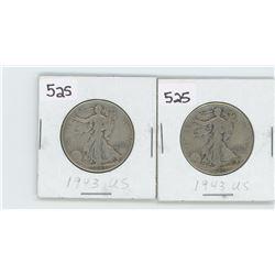 (2) 1943 US HALF DOLLAR