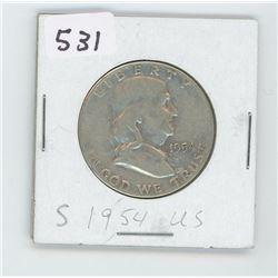 1954-S- US HALF DOLLAR