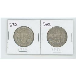 (2) 1956AU-50- CANADIAN SILVER 50 CENT