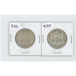 (2) 1958AU-50- CANADIAN SILVER 50 CENT
