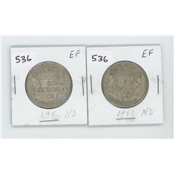 (2) 1951ND-EF CANADIAN SILVER 50 CENT
