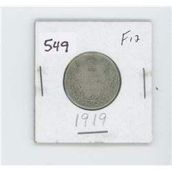 1919F12- CANADIAN SILVER 25 CENT