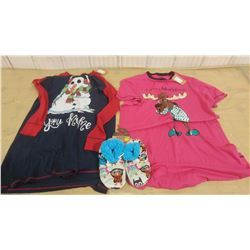 TWO NIGHTSHIRTS AND PAIR OF SLIPPERS (ONE SIZE & S/M)