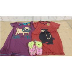 TWO NIGHTSHIRTS AND PAIR OF SLIPPERS (S/M)
