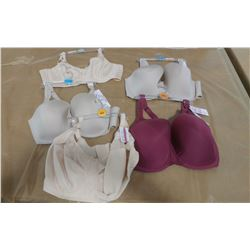 LOT OF FIVE BRAS, ASSORTED SIZES
