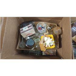 BOX OF ASSORTED ITEMS - GLASSES, SALT & PEPPER SHAKERS, DOUGH PRESSES, ETC.