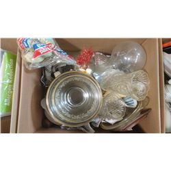 BOX OF ASSORTED ITEMS - VASES, DISHES, ETC.