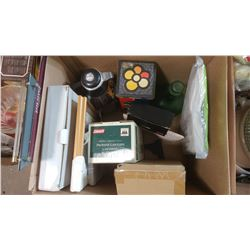 BOX OF ASSORTED ITEMS - PROPANE LANTERN, PICTURE, STEREO CASSETTE ADAPTER, ETC.
