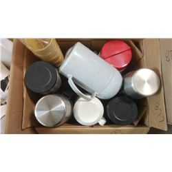 BOX OF ASSORTED ITEMS - THERMOSES, CUPS, ETC.