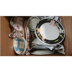 BOX OF ASSORTED ITEMS - DISHES, PLATES, BOWLS, ETC.