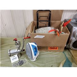 MEAT GRINDER, #10 NOS, ELECTRIC IRON, GROCERY BAG WHEELER, ETC.