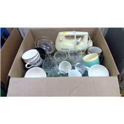 WEST BEND ELECTRIC MIXER AND ASSORTED GLASSWARE
