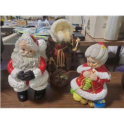 THREE CHRISTMAS FIGURINES