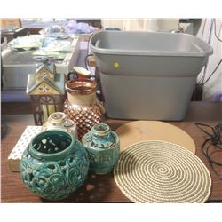 ASSORTED DÉCOR WITH PLASTIC BIN