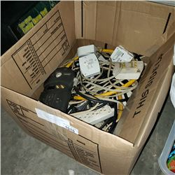 LOT OF POWER BARS, ELECTRICAL TIMERS, EXTENSION CORD