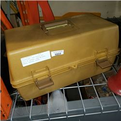 ADVENTURER 1899 TACKLE BOX FULL OF TACKLE, LEAD WEIGHTS, REELS, SCALES, PLUGS, ACCESSORIES