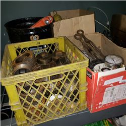 5 BOXES OF PIPE FITTINGS, SHOP HARDWARE, AND TOOLS