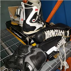 SPORTS EQUIPTMENT INCLUDING ROLLER BLADES, SNOWBOARD BOOTS, AND GOALIE SKATES