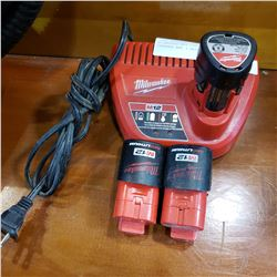 MILWAUKEE M12 CORDLESS BATTERY CHARGER AND 3 BATTERIES