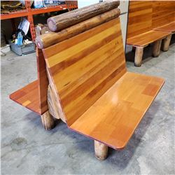 DOUBLE SIDED 2 SEATER LOG BENCH, MONTANA'S RESTAURANT