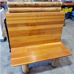 2 SEATER LOG BENCH, MONTANA'S RESTAURANT STYLE