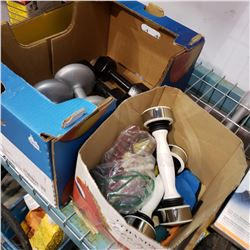 BOX OF DUMBBELLS AND EXERCISE EQUIPTMENT