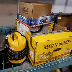 BOX OF SUMP PUMP, GARAGE EPOXY, TIRE CHAINS, AND CANES