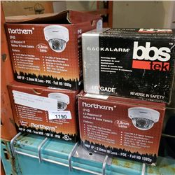 3 DOME SECURITY CAMERAS 1080P AND BACKUP ALARM