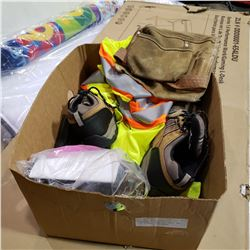 VISION 2 SAFETY GOGGLES, RESPIRATOR, HIGH VIS VEST, AND SIZE 9 STEEL TOE SHOES