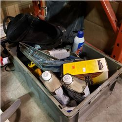 BIN OF SHOP SUPPLIES, FLASHLIGHT AND TOOL POUCH