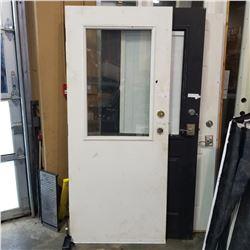 UNFRAMED WOOD DOOR W/ WINDOW INSERT