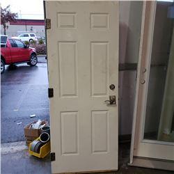 UNFRAMED LEFT HAND SWING METAL DOOR W/ HANDSET AND DEADBOLT