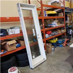 FRAMED 22 INCH BY 80 INCH GLASS INSERT DOOR RING HAND SWING