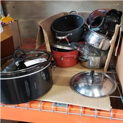 BOX OF POTS AND PANS, CROCKPOT, BLENDER, AND ELECTRIC KETTLE