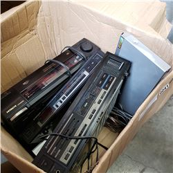 BOX OF STEREO COMPONENTS AND DVD PLAYER