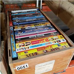 WOOD TRAY OF DVDS