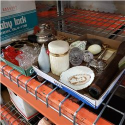2 TRAYS OF COLLECTIBLES, STONE EGGS, RETRO ROCKET SALT AND PEPPERS, AND CAT DRESSER BOX