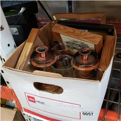 LOT OF HURRICANE LAMP CANDLE STICKS AND SMALL ETCHING PRINTS