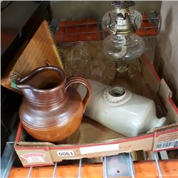 2 ANTIQUE OIL LAMPS, CERAMIC PITCHER, HOT WATER BOTTLE, AND INSTRUMENT