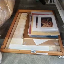 TRAY OF UNFRAMED PICTURES AND PRINTS