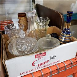 2 BOXES OF DECANTER SET, FIGURE, AND COLLECTIBLES