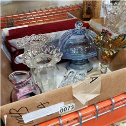 LOT OF DEPRESSION GLASS, ART GLASS - SOME SIGNED, AND MIKASA SERVING SPOONS