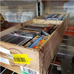 2 WOOD CRATES OF DVDS AND CDS