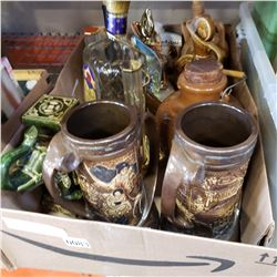 BOX OF COLLECTIBLE DECANTERS AND JUGS