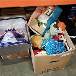 BOX OF COLLECTIBLE DOLLS, MILLENIUM PRINCESS BARBIE IN BOX, MADAME ALEXANDER HEIDI DOLL